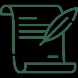 Erbrecht Icon - Testament mit Schreibfeder