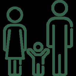 Familienrecht Icon - Eltern mit Kind in der Mitte