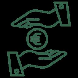 Kosten Icon - zwei Hände tauschen Geld aus