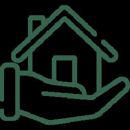 Mietrecht Icon - Hand mit Haus