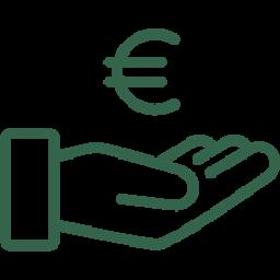 Schadensrecht Icon - Hand mit Währungssymbol für Euro